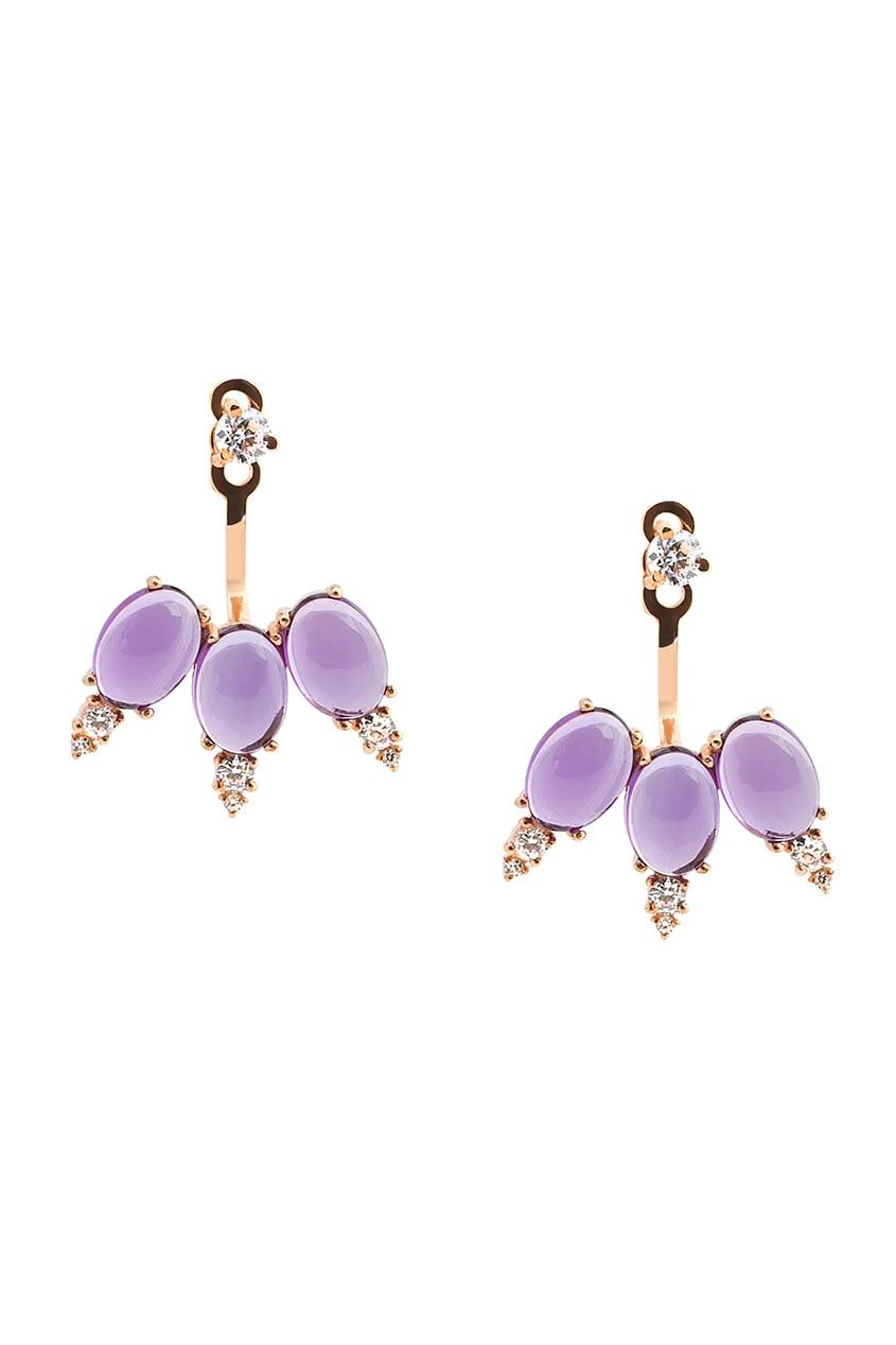 Moonka | фиолетовый Позолоченные серьги с аметистами | Clouty