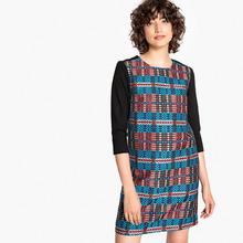 La Redoute Collections | Платье в клетку прямое, укороченное с рукавами 3/4 | Clouty