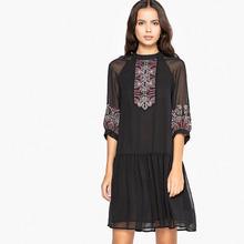 La Redoute Collections | Платье расклешенное с вышивкой спереди и объемными рукавами | Clouty