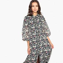 La Redoute Collections | Платье миди приталенное с цветочным принтом с рубашечным воротником | Clouty