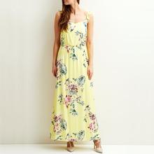 Vila | Платье длинное с цветочным рисунком на бретелях с воланами | Clouty
