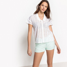 Mademoiselle R | Рубашка с воротником-поло, короткими рукавами и английской вышивкой | Clouty