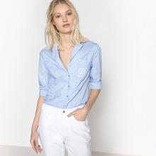 Mademoiselle R | Рубашка однотонная с длинными рукавами и костюмным воротником | Clouty