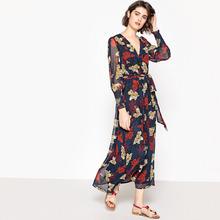 La Redoute Collections | Платье-макси с цветочным рисунком и длинными рукавами | Clouty