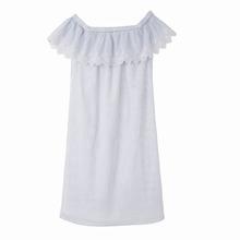 Vila | Платье короткое с английской вышивкой и воланами на плечах | Clouty