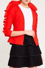 Elisabetta Franchi | Красный жакет с оборками на рукавах | Clouty