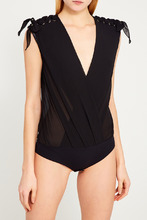 Elisabetta Franchi | Черная блузка-боди со шнуровкой | Clouty