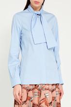 GUCCI   Голубая блузка с пришивным шарфом   Clouty