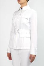 MICHAEL KORS | Белый хлопковый жакет с поясом | Clouty