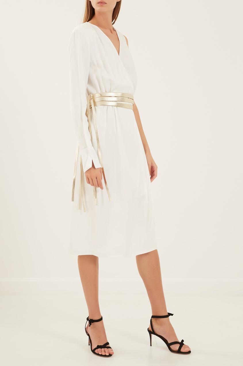 Elisabetta Franchi | белый Асимметричное платье с золотистым поясом | Clouty