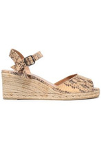 Castañer | Castaner Woman Snake-print Faux Leather Espadrille Wedge Sandals Beige Size 36 | Clouty