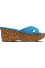 Jimmy Choo | Jimmy Choo Woman Suede Wedge Sandals Turquoise Size 36.5 | Clouty
