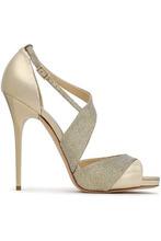 Jimmy Choo | Jimmy Choo Woman Glittered Mesh And Metallic Leather Sandals Gold Size 40 | Clouty