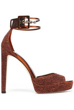 Jimmy Choo | Jimmy Choo Woman Mayner Pvc-trimmed Glittered Leather Platform Sandals Copper Size 39.5 | Clouty