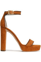 Jimmy Choo | Jimmy Choo Woman Holly Suede Platform Sandals Tan Size 40 | Clouty