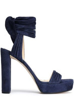 Jimmy Choo | Jimmy Choo Woman Kaytrin Ruched Suede Sandals Navy Size 40 | Clouty