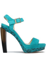 Jimmy Choo | Jimmy Choo Woman Dora Suede, Elaphe, And Horn Platform Sandals Turquoise Size 37 | Clouty