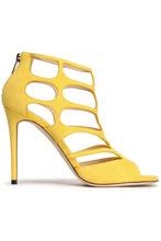 Jimmy Choo | Jimmy Choo Woman Ren Cutout Suede Sandals Yellow Size 35 | Clouty