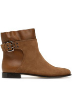 Jimmy Choo   Jimmy Choo Woman Major Buckled Suede And Leather Ankle Boots Camel Size 40   Clouty