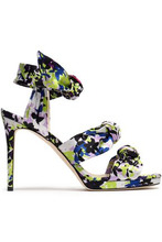 Jimmy Choo | Jimmy Choo Woman Kris Knotted Printed Satin Sandals Lime Green Size 40 | Clouty