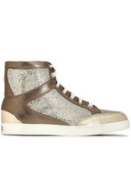 Jimmy Choo | Jimmy Choo Woman Tokyo Glittered Mesh And Metallic Leather High-top Sneakers Brass Size 37 | Clouty