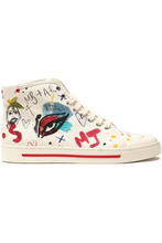 Marc Jacobs | Marc Jacobs Woman Printed Canvas High-top Sneakers Off-white Size 41 | Clouty