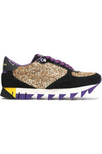 Dolce & Gabbana | Dolce & Gabbana Woman Glittered Leather Sneakers Gold Size 36.5 | Clouty