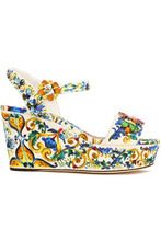 Dolce & Gabbana | Dolce & Gabbana Woman Embellished Printed Jacquard Wedge Sandals Multicolor Size 38.5 | Clouty