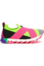 Dolce & Gabbana | Dolce & Gabbana Woman Neon Color-block Neoprene Sneakers Pink Size 37 | Clouty