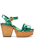 Dolce & Gabbana | Dolce & Gabbana Woman Printed Silk-blend Satin Platform Sandals Jade Size 37 | Clouty