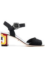 Dolce & Gabbana | Dolce & Gabbana Woman Keira Embellished Woven Raffia Sandals Black Size 35 | Clouty