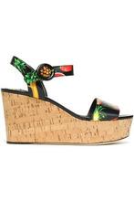 Dolce & Gabbana | Dolce & Gabbana Woman Printed Patent-leather Wedge Platform Sandals Black Size 35 | Clouty