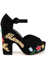 Dolce & Gabbana | Dolce & Gabbana Woman Mamma Bella Appliqued Suede Platform Sandals Black Size 38 | Clouty