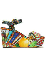 Dolce & Gabbana | Dolce & Gabbana Woman Printed Jacquard Platform Wedge Sandals Multicolor Size 36 | Clouty