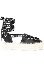 McQ Alexander Mcqueen | Mcq Alexander Mcqueen Woman Lace-up Printed Grosgrain-trimmed Leather Espadrilles Black Size 36 | Clouty