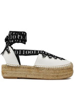 McQ Alexander Mcqueen | Mcq Alexander Mcqueen Woman Printed Grosgrain-trimmed Leather Platform Espadrilles White Size 36 | Clouty