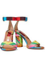 Valentino Garavani | Valentino Garavani Woman Embellished Color-block Matte And Patent-leather Sandals Multicolor Size 37.5 | Clouty