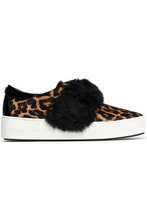 Michael Michael Kors | Michael Michael Kors Woman Faux Fur-trimmed Leopard-print Calf Hair Slip-on Sneakers Animal Print Size 7 | Clouty
