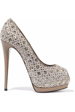 Giuseppe Zanotti | Giuseppe Zanotti Woman Sharon Glittered Embroidered Leather Platform Pumps Beige Size 38 | Clouty