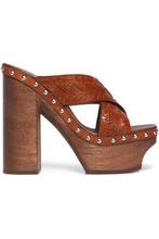 Roberto Cavalli | Roberto Cavalli Woman Studded Woven Leather Platform Mules Tan Size 36 | Clouty