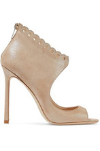 Jimmy Choo | Jimmy Choo Woman Blythe 110 Scalloped Metallic Suede Sandals Sand Size 35.5 | Clouty