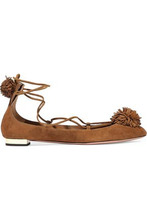 Aquazzura | Aquazzura Woman Sunshine Pompom-embellished Nubuck Ballet Flats Light Brown Size 35 | Clouty