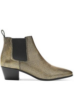 Maje | Maje Woman Metallic Textured-leather Ankle Boots Gold Size 36 | Clouty