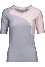 adidas by Stella McCartney | Adidas By Stella Mccartney Woman Striped Stretch-jersey Top Light Gray Size S | Clouty