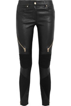 GIVENCHY | Givenchy Woman Leather And Stretch-knit Skinny Pants Black Size 38 | Clouty