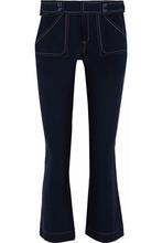 Derek Lam 10 Crosby | Derek Lam 10 Crosby Woman Cropped Cotton-blend Twill Flared Pants Midnight Blue Size 8 | Clouty