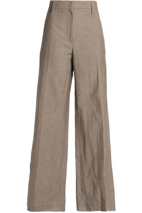 Brunello Cucinelli | Brunello Cucinelli Woman Wool And Linen-blend Wide-leg Pants Sand Size 42 | Clouty