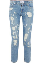 Derek Lam 10 Crosby | Derek Lam 10 Crosby Woman Cropped Distressed Mid-rise Slim-leg Jeans Mid Denim Size 26 | Clouty