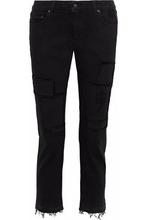 Derek Lam 10 Crosby | Derek Lam 10 Crosby Woman Mila Cropped Distressed Mid-rise Straight-leg Jeans Black Size 27 | Clouty