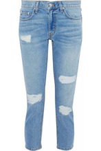 Derek Lam 10 Crosby | Derek Lam 10 Crosby Woman Cropped Distressed Mid-rise Slim-leg Jeans Mid Denim Size 30 | Clouty